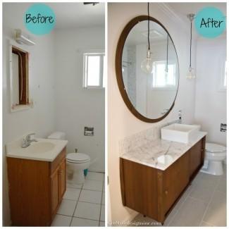 Cuarto de baño moderno de mediados de siglo - Cre8tive Designs Inc.