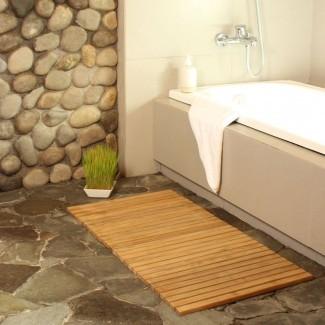 Alfombra de baño de cuerda de teca Premium