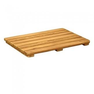 Asta Solid Teak Ducha exterior para interiores / baño / alfombra de spa con esquinas redondeadas, colección Spa Teak