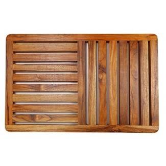 Alfombra de baño de madera de teca, alfombra de baño de lujo de 23,6 x 15,7 pulgadas en caja de regalo, alfombra de piso antideslizante para interiores y exteriores de HTB