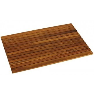 """Alfombrilla de baño Cosi de decoración desnuda en madera de teca sólida con acabado aceitado 31.5 """"x 20"""""""