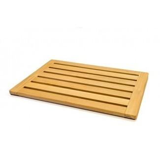 Alfombrilla de baño de madera de teca natural Alfombrilla de baño de Home Fundamentals: Alfombrilla antideslizante Sauna Spa Alfombrilla de baño sellada antideslizante 23in x 15.75in x 1in