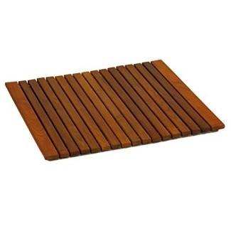 Alfombrilla de ducha Spa Spa de Lykos en acabado liso con acabado de madera de teca maciza, grande