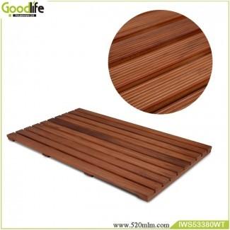 Diseño de madera de teca para alfombra de baño de seguridad IWS53380
