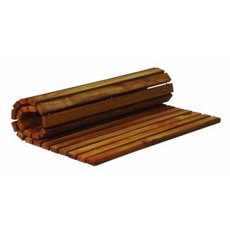 Una alfombra de baño de teca es una opción funcional y hermosa