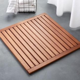 alfombra de baño de teca lateral + Comentarios | CB2