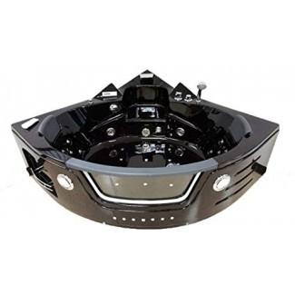 2 Bañera de hidromasaje para dos personas Hidroterapia Bañera de esquina negra con Bluetooth, control remoto, calentador de agua y tubo de ducha