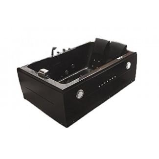 Bañera de hidromasaje con hidromasaje para 2 personas con hidromasaje Bañera interior con Bluetooth - NEGRO