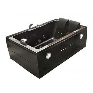 Bañera para 2 personas Jacuzzi negro Tipo Whirlpool 14 Chorros de masaje Calentador incorporado Grifo de cascada Radio FM Bluetooth SPA Bañera de hidromasaje Modelo 051A-BK-SD