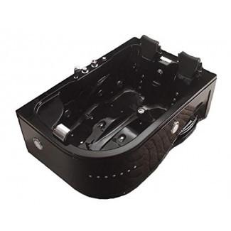 MCP-Distributions Bañera de hidromasaje con hidromasaje para 2 personas, bañera de esquina negra con Bluetooth, control remoto GRATUITO y calentador de agua