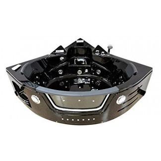 Bañera para 2 personas Unidad de esquina negra Bañera de hidromasaje con chorro de hidromasaje 29 Chorros de masaje Calentador incorporado Grifo de cascada Radio FM Tubo SPA 30 A Modelo SDA050-BK