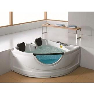 Bañera de hidromasaje para bañera de hidromasaje empotrada de hidromasaje de lujo para 2 personas, con Bluetooth, control remoto, en línea Calentador de agua y 19 surtidores totales