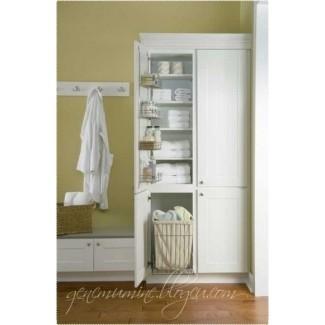 armario de lino con cesto - Decoración para el hogar