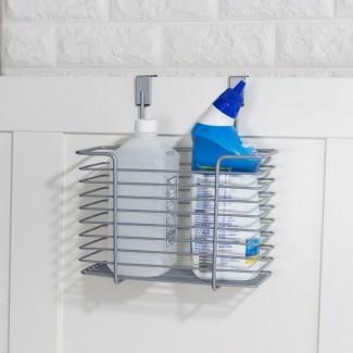 Carrito de ducha de alambre sobre la puerta