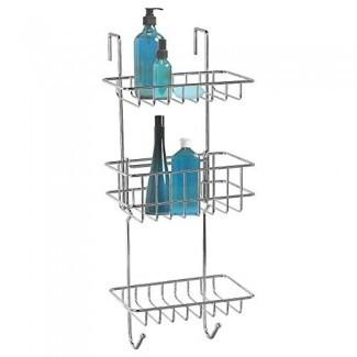 HonTop Shower Caddy Organizador de almacenamiento con 3 cestas sobre la puerta Estante para baño Estantes de almacenamiento de cocina Artículos de tocador Especias Toalla y soporte de jabón