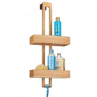 mDesign Modern Bamboo Wood Over The Shower Door Bathroom Caddy, Hanging Storage Organizer Center con cestas en 2 niveles para duchas de baño, bañeras - Natural Acabado de madera