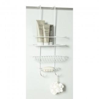 Carrito de ducha sobre la pared o puerta blanca de la caja de almacenamiento