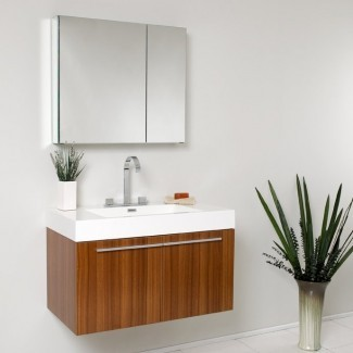 """Juego de tocador de baño individual Senza Vista de 36 """"con espejo"""