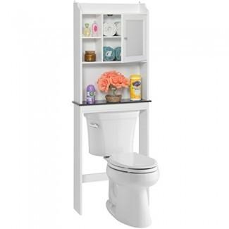 Best Choice Products Contemporáneo moderno sobre el inodoro Organización de ahorro de espacio Gabinete de almacenamiento de madera para hogar, baño con estantes ajustables, cubículo, panel de puerta con marco