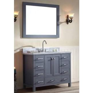 43 pulgadas de ancho, lavabo individual, mueble de baño, gris