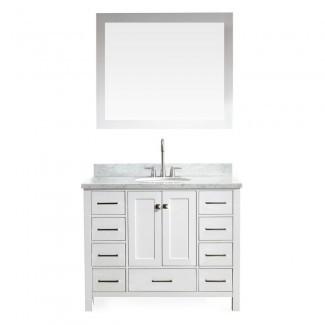 Ariel Cambridge 43 in. Vanity en blanco con tocador de mármol