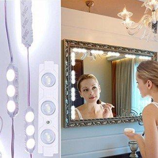 Vanity Makeup Lights Kit Geefawa 10ft 60 LED Hollywood Style Mirror LED Light DIY Kits de luz para baño Decoración de espejo cosmético con regulador de intensidad (Espejo no incluido)