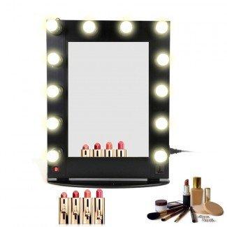 Espejo de maquillaje profesional de aluminio Hollywood con luces