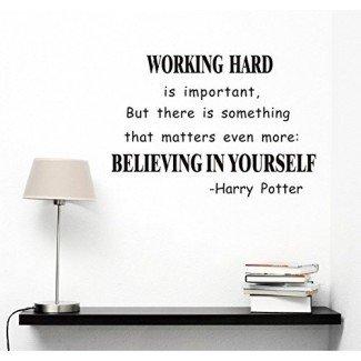 Cree en ti mismo Etiqueta de arte de pared Citas de Harry Potter Pegatinas de pared murales removibles Calcomanía de pared para decoración de oficina / sala de estudio
