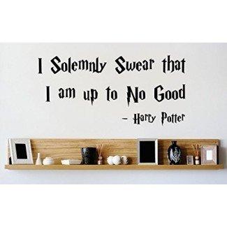 Etiqueta de la pared del vinilo: Juro solemnemente que no estoy haciendo nada bueno Cita de Harry Potter Dormitorio Baño Sala de estar Imagen Arte Pelar y pegar Mural Tamaño: 10 pulgadas X 20 pulgadas Color: negro