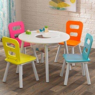 Juego de mesa y silla de 5 piezas para niños de almacenamiento