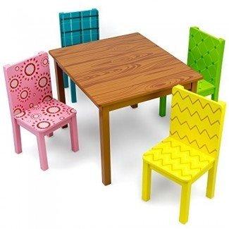 Muebles divertidos para niños Juego de mesa y 4 sillas de madera, diseños inspirados en dibujos animados de Imagination Generation