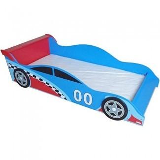 Colección Bebe Style Premium Wooden para niños pequeños Cama Cool Race Car Theme Tamaño estándar Fácil ensamblaje Azul