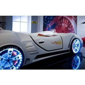 Cama de coche de carreras Speedster Ventura FS blanca - Cama de coche