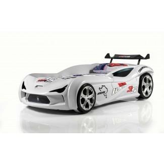 MVN2 Racer - White   Camas de coche de carreras para niños