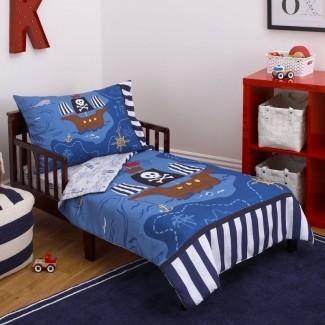 Pirata Juego de ropa de cama para niños pequeños de 4 piezas