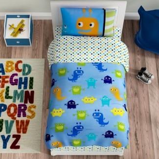 Navya Juego de sábanas para niños pequeños Monsters de 4 piezas