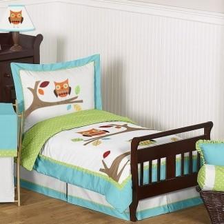 Hooty Juego de cama para niños pequeños de 5 piezas