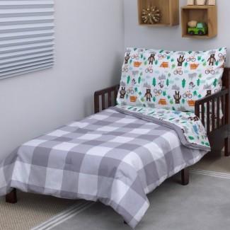Juego de ropa de cama para niños pequeños Woodland Boy de 4 piezas