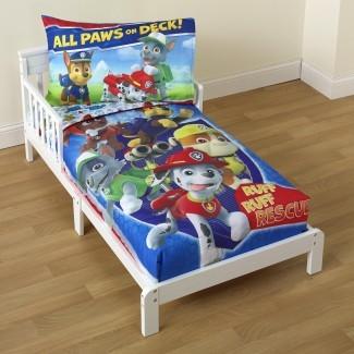 Juego de cama Nickelodeon PAW Patrol para niños pequeños de 4 piezas ...