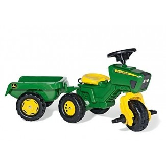 Rolly Toys John Deere Tractor de pedal de tres ruedas con remolque desmontable, Youth Ages 2.5+