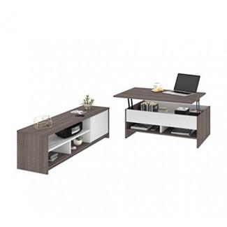 Bestar - Juego de mesa de centro de 2 piezas con soporte de TV y soporte para TV