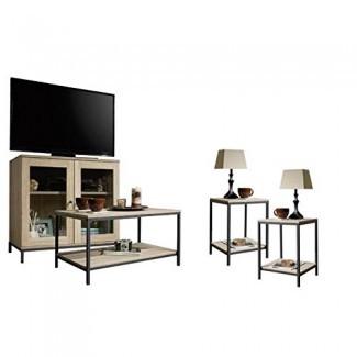 Juego de sala de estar de 4 piezas Home Square con soporte de TV de almacenamiento, mesa de centro y juego de 2 mesas auxiliares en Charter Oak