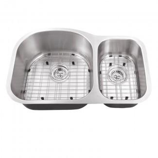 """Fregadero de cocina bajo cubierta doble de 32 """"L x 21"""" An. Con conjunto de rejilla y conjuntos de desagüe"""