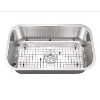 """Fregadero de cocina bajo encimera de 30 """"de largo x 18"""" An. Con conjunto de rejilla y desagüe"""
