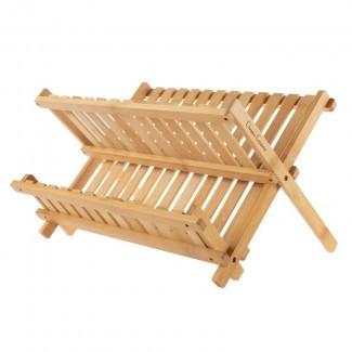 Estante para platos de secado de bambú