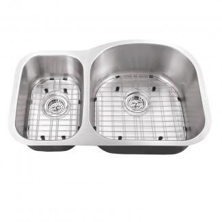 """Fregadero de cocina de 33 """"de largo x 22"""" de ancho, bajo lavabo, con conjunto de rejilla y conjuntos de drenaje"""