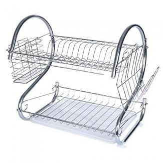 WensLTD Escurreplatos - Plato de capas dobles en forma de S Estante de secado Organizador de escurridor de estante de colección de cocina (envío desde EE. UU.)