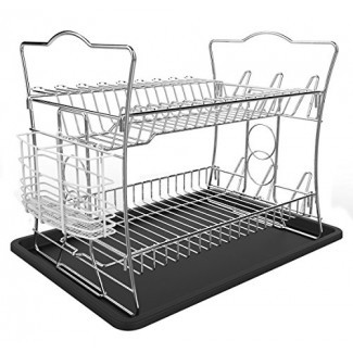 IZLIF Juego de rejilla para secar platos con acabado en cromo de 2 niveles y escurridor con soporte para utensilios blanco extraíble