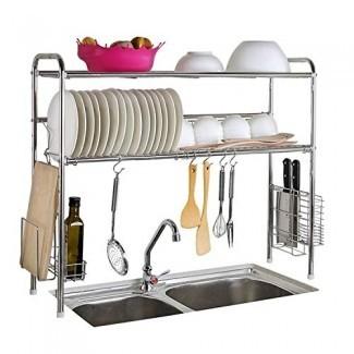 Abaft Estante de secado de acero inoxidable sobre fregadero Escurridor de platos Estante y organizador de cocina (doble ranura-doble capa)
