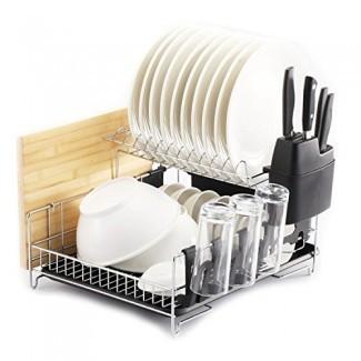PremiumRacks Professional Dish Rack - Acero inoxidable 304 - Totalmente personalizable - Microfibra incluida - Diseño moderno - Gran capacidad